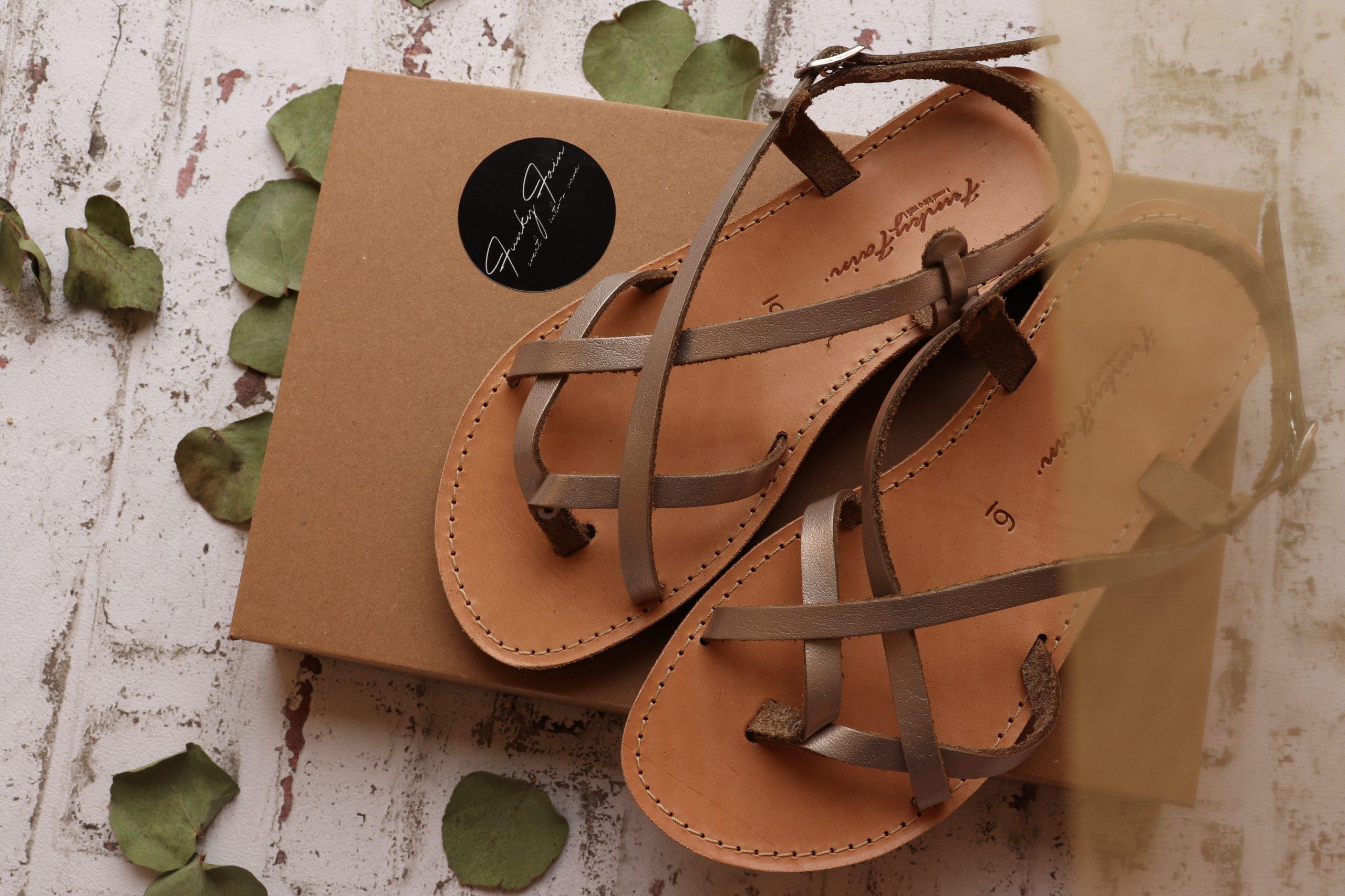 Sandale damă piele naturală FUNKY FEELING, grej metalic