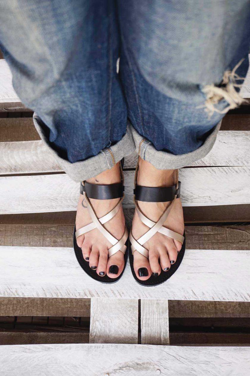 Sandale dama piele naturala FUNKY PEOPLE, grej metalic
