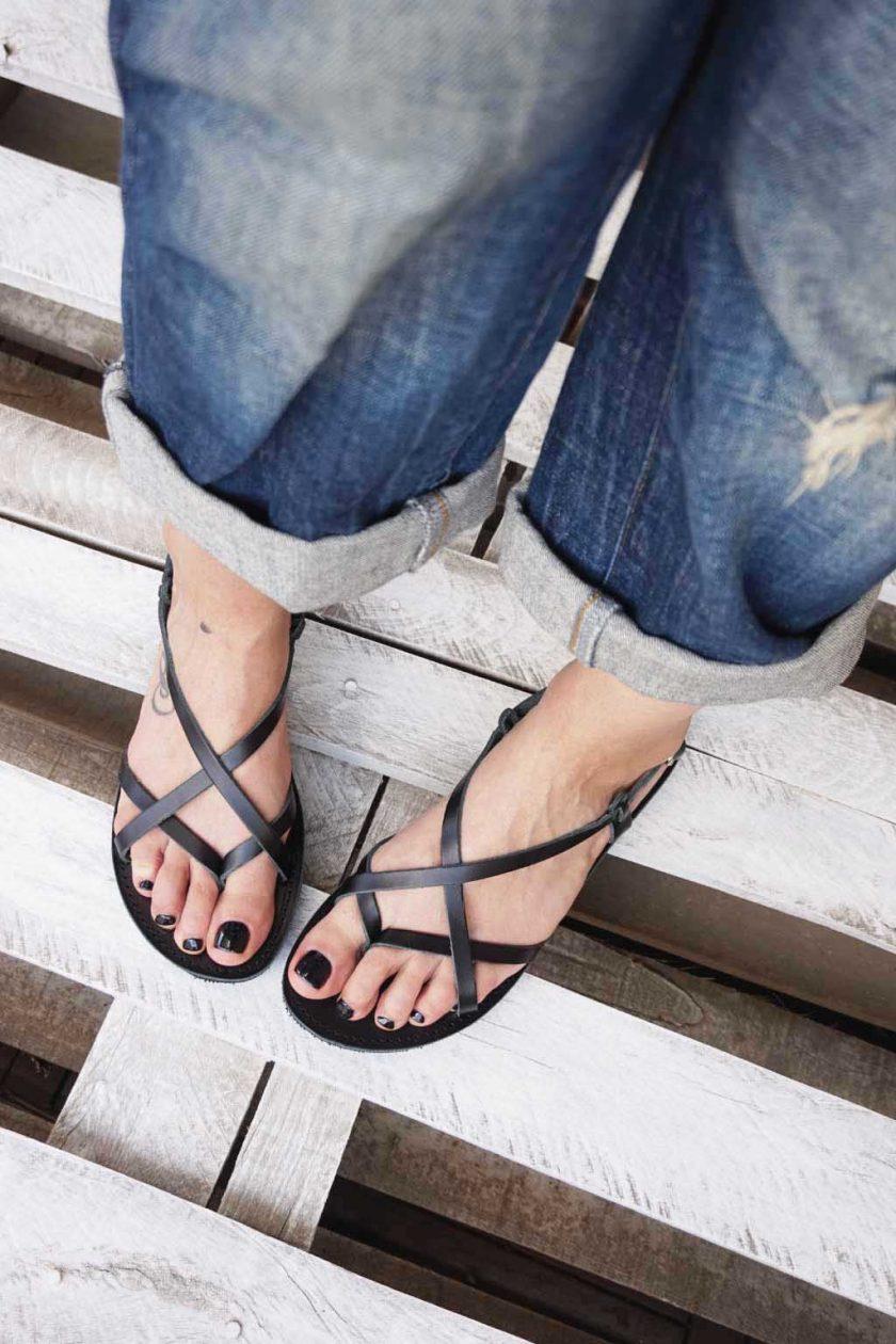 Sandale grecesti piele naturala FUNKY FEELING, negru