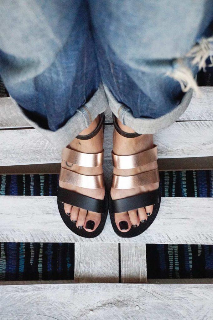Sandale cu talpă joasă FUNKY MUM, bronz