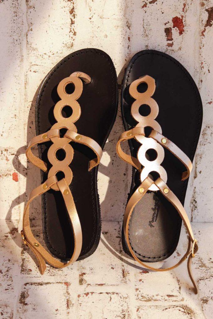 Sandale grecesti FUNKY SOCIAL grej metalic